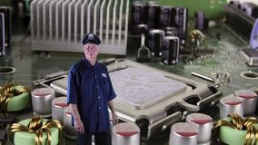 Cyber patrol. Computer circuit board monitor with security guard or police officer
