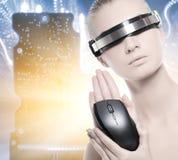 cyber piękna kobieta Obrazy Stock