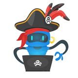 Cyber pirate robot hacking someone. Vector cartoon style illustration of blue cyber pirate robot hacking someone and sitting at the laptop stock illustration