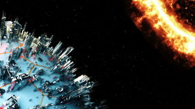 Cyber planet. Cosmos technology. Animation stock video footage