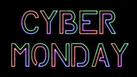 Cyber Poniedziałek - siedem kolorów neonowy tekst, rusza się światła, na przejrzystym tle zbiory wideo