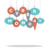 Cyber Poniedziałek literujący Bożenarodzeniowymi ornamentami royalty ilustracja