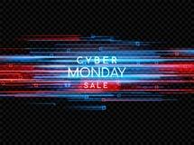 Cyber Poniedziałek Promocyjny online sprzedaży wydarzenie Wektorowa technologii ilustracja Obrazy Stock