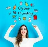 Cyber Poniedziałek z młodą kobietą patrzeje upwards zdjęcie royalty free