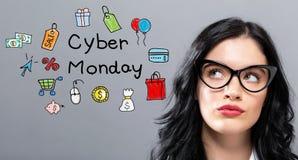 Cyber Poniedziałek z młodym bizneswomanem obrazy royalty free