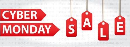 Cyber Poniedziałku sprzedaże, Cyber Poniedziałku oferty Super rabaty Cyber Poniedziałku plakat, sztandar również zwrócić corel il Zdjęcia Stock
