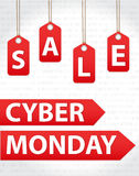 Cyber Poniedziałku sprzedaże, Cyber Poniedziałku oferty Super rabaty Cyber Poniedziałku plakat, sztandar również zwrócić corel il Zdjęcie Royalty Free