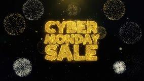 Cyber Poniedziałku sprzedaże pisać złociste cząsteczki wybucha fajerwerku pokazu
