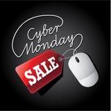 Cyber Poniedziałku sprzedaży etykietka i mysz Royalty Ilustracja
