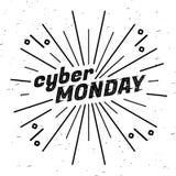 Cyber Poniedziałku sprzedaży etykietka Szablonu projekta sieci sztandar dla cyber Poniedziałku oferty Promocyjny projekt w usterc Zdjęcie Royalty Free