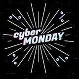 Cyber Poniedziałku sprzedaży etykietka Szablonu projekta sieci sztandar dla cyber Poniedziałku oferty Promocyjny projekt w usterc Obrazy Royalty Free