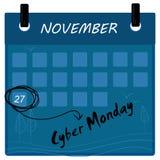 Cyber Poniedziałku sprzedaży 2017 kalendarz Ilustracji