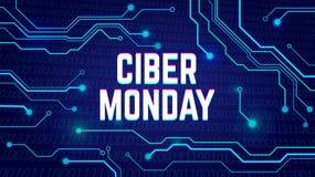 Cyber Poniedziałku sprzedaży plakat, bunner, zaproszenie z elektrycznymi pulsami royalty ilustracja