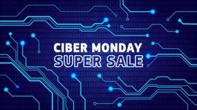 Cyber Poniedziałku sprzedaży plakat, bunner, zaproszenie z elektrycznymi pulsami ilustracja wektor