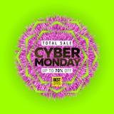 Cyber Poniedziałku sprzedaży sztandar royalty ilustracja