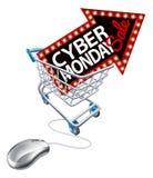 Cyber Poniedziałku sprzedaży zakupy tramwaju Online mysz ilustracja wektor