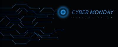 Cyber Poniedziałku technologii cyfrowej sztandar błękitny i czarny ilustracja wektor