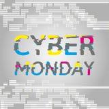 Cyber Poniedziałku plakat z usterka skutka tekstem Zdjęcia Royalty Free