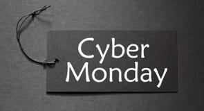 Cyber Poniedziałku tekst na czarnej etykietce Fotografia Stock