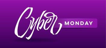 Cyber Poniedziałku typografia dla karty, sztandary, reklamy, reklamowe broszurki, broszura obrazy stock