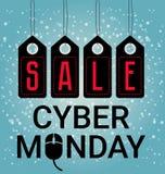 Cyber Poniedziałku projekt, sprzedaże Myszy ikona, wektorowa ilustracja Listopad duża sprzedaż lub boże narodzenia, rabat, reklam Zdjęcie Stock