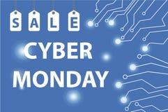 Cyber Poniedziałku sprzedaże, Cyber Poniedziałku oferty Super rabaty Cyber Poniedziałku plakat, sztandar również zwrócić corel il Obrazy Stock