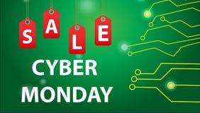 Cyber Poniedziałku sprzedaże, Cyber Poniedziałku oferty Super rabaty Cyber Poniedziałku plakat, sztandar również zwrócić corel il Obrazy Royalty Free