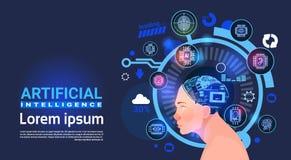 Cyber principal masculin Brain Modern Technology Robots Banner d'intelligence artificielle Photos stock