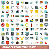 100 cyber protection icons set, flat style Royalty Free Stock Images
