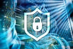 Free Cyber Protection Shield Icon On Server Room Background. Information Security And Virus Detection Royalty Free Stock Photos - 125614738