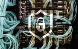 Cyber protection shield icon on server room background. Information Security and virus detection. Cyber protection shield icon on server room background Royalty Free Stock Images