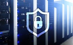 Cyber protection shield icon on server room background. Information Security and virus detection.  Royalty Free Stock Image