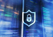 Cyber protection shield icon on server room background. Information Security and virus detection.  Royalty Free Stock Photography