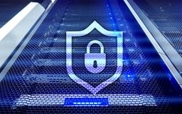 Cyber protection shield icon on server room background. Information Security and virus detection.  Royalty Free Stock Images