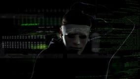 Cyber przestępca w bielu maskowym sieka system bezpieczeństwa, nielegalna działalność, atak obraz stock