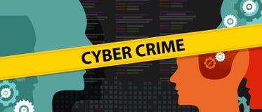 Cyber przestępstwa głowy źródła kodu ochrona Zdjęcia Stock
