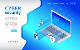 Cyber przestępstwo i dane ochrony tło z laptopem royalty ilustracja
