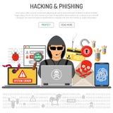 Cyber przestępstwo, Siekać i Phishing pojęcie, ilustracja wektor