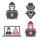 Cyber przestępstwo z Ustalonym logo hackera szpiegiem ilustracji