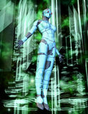 Cyber Queen. A cyber girl in 3d with a futuristic background in 3d Royalty Free Stock Image