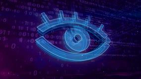 Cyber remarquant le concept numérique avec l'illustration de l'oeil 3D d'espion illustration libre de droits