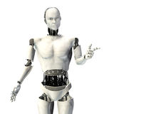 Cyber robot man pointing. Illustration isolated Royalty Free Stock Photos
