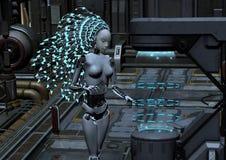 Cyber robot w fantastyka naukowa wnętrzu Obrazy Royalty Free