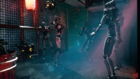 Cyber robots relax and dance in the cyber city of the future. The animation for fantastic, the futuristic or science