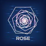 Cyber rose. Neon glow. Abstract polygon. Logo. Cyber rose. Neon glow Stock Photography