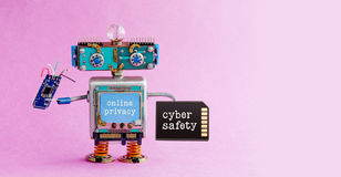 Cyber safety online privacy robotic concept. System administrator robot toy with memory card chip circuit. Steampunk. Cyborg, blue head. Alert message interface royalty free stock photos