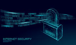 Cyber safety padlock on data mass. Internet security lock information privacy low poly polygonal future innovation. Technology network business concept blue stock illustration