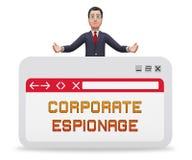 Cyber secret d'espionnage d'entreprise entaillant le rendu 3d illustration stock