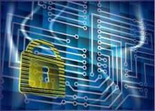 Cyber security. Abstract background with lock and scheme Stock Photography