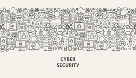 Cyber Security Banner Concept. Vector Illustration of Line Web Design Stock Images